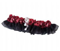 Red Sequin & Satin Wedding Garter